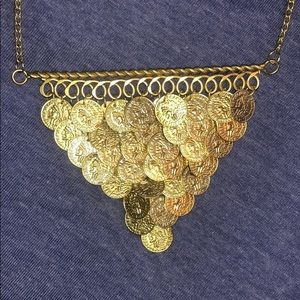 NWOT Gold color coin necklace - festival, costume